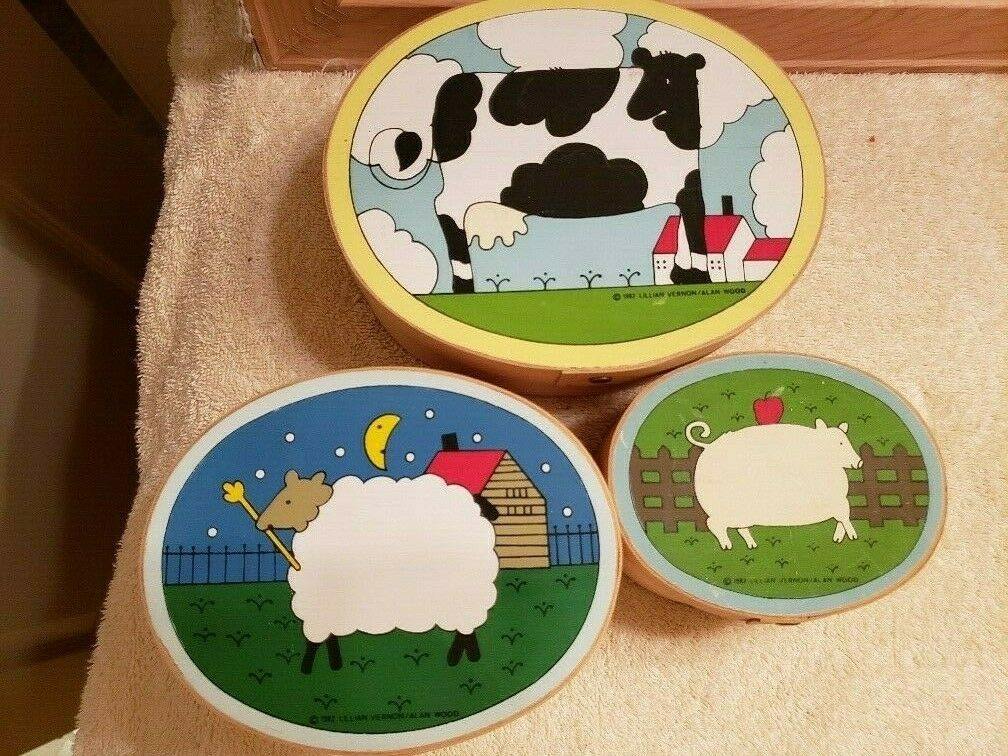 3 Nesting Oval Boxes Cardboard Cow Sheep Pig Country Farm Lillian Vernon 1982 FS - $19.99