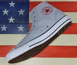 CONVERSE SAMPLE Chuck Taylor ALL-STAR HIGH Grey Red Leather Shoes [15961... - $92.22