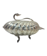 Vintage Hollywood Regency Silverplate Clam Shell Serving Dish with Swan ... - $450.00