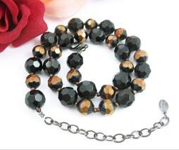 Vintage NECKLACE BLACK and GOLDTONE Stripe GLASS Faceted  Beads  Signed JS - $24.99