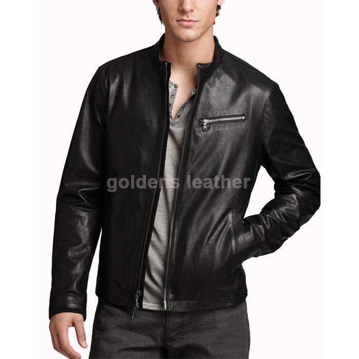 New Men's Stylish Lambskin Genuine Leather Motorcycle Biker Slim Fit Jacket GN13