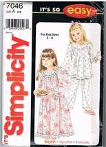 Simplicity 7046 Girls Sleepwear Sewing Pattern - $4.94