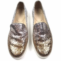 Stuart Weitzman Biarritz Glitter Ombre Skate Slip on Sneakers Gold Silver Sz 6.5 - $68.40