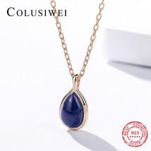 Culusiwei Vintage Choker Necklace for Women Gold Color Fashion Natural Lapis Laz - $24.77