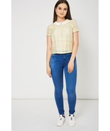 Peter Pan Collar Yellow Short Sleeve Top Sizes 8, 10, 12, 14 NEW - $21.31