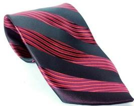 Giorgio Armani Men's Necktie 100% Silk Striped Made In Italy Black Red - $17.66