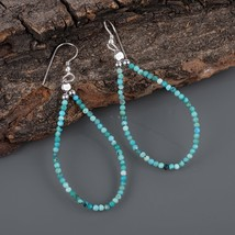 Faceted Round Turquoise 925 Sterling Silver Dainty Teardrop Dangle Earri... - $18.99