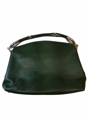 Hogan Women Green Leather Hobo Shoulder Purse Bag Made in Italy