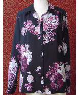 EAST 5th black floral polyester long sleeve blouse XL (T33-02C8G) - $7.90