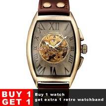 Matic watch men mechanical wrist watches mens fashion skeleton retro bronze watch clock thumb200