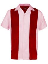 Men's Retro Charlie Sheen Two Tone Guayabera Bowling Dress Shirt w/ Defect - L image 1