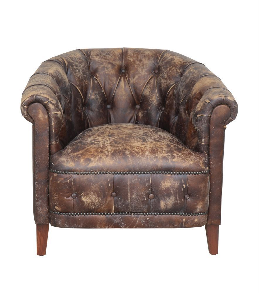 Awesome Club Arm Chair Distressed Brown Soft Leather,High Quality,32'' x 29''H