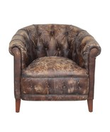 Awesome Club Arm Chair Distressed Brown Soft Leather,High Quality,32'' x... - $1,975.05