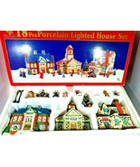 Holiday Expressions 18 Piece Porcelian Lighted House Set (2 Figurines Mi... - $39.59
