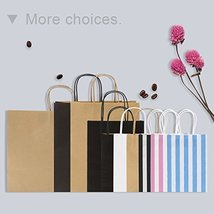 Road 5.25 x 3.25 x 8 Inches 100pcs Black Kraft Paper Bags with Handle, Shopping  image 2