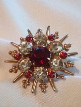 Starburst Brooch Pin Rhinestones Faux Diamond Ruby Vintage 1960's Unsigned - $24.99