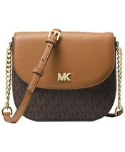 NWT MICHAEL KORS SIGNATURE HALF DOME CROSSBODY BAG LOGO BROWN - $124.81