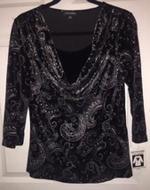 NWT Silver On Black Designer Blouse By Notations Size Medium - $11.29