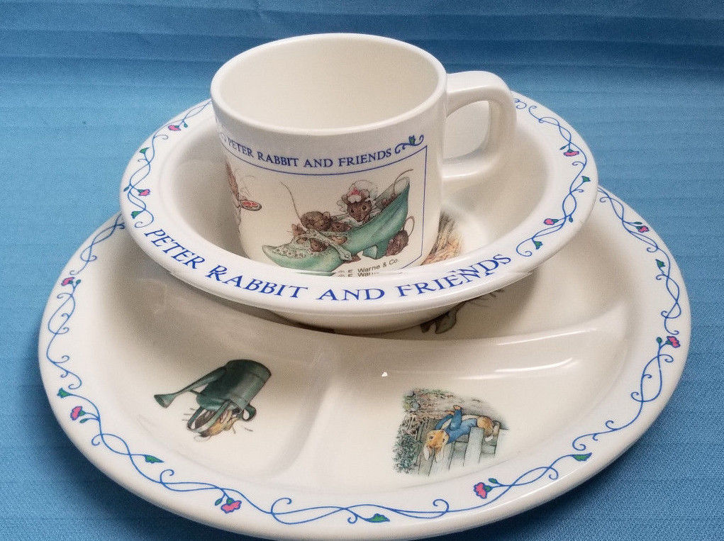 Primary image for Children's Plate Bowl & Cup Set Peter Rabbit & Friends Design EDEN Blue White