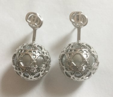 AUTH NEW DIOR MISE EN TRIBAL CANNAGE CD LOGO SILVER GRAY PEARL EARRINGS