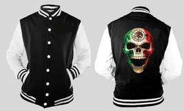 Mexican Mexico Skull Varsity Baseball BLACK/WHITE Fleece Jacket - $41.57