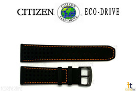 Citizen Eco-Drive B612-S084059 23mm Black Leather Watch Band w/Orange St... - $79.95