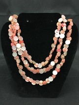 "Beautiful Vintage 2 Shades Of Shiny Iridescent Pink Button Necklace 27"" ... - $19.99"