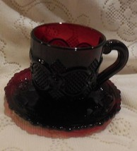 Avon 1876 Ruby Red Cape Cod: Cup (Avon 75-90) and Saucer - $9.89