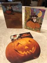 Lot of 3 HALLOWEEN vintage greeting cards jack'o'lantern pumpkin spooky ... - $13.85
