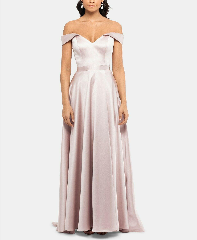 XSCAPE Off-The-Shoulder Satin Gown Beige Size 6 $259