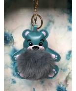 Cute Grey Fuzzy Pompom Bear Keychain Handbag purse Backpack Charm US se... - $8.79