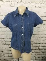 Gap Denim Shirt Womens Sz L Snap Front - $11.88