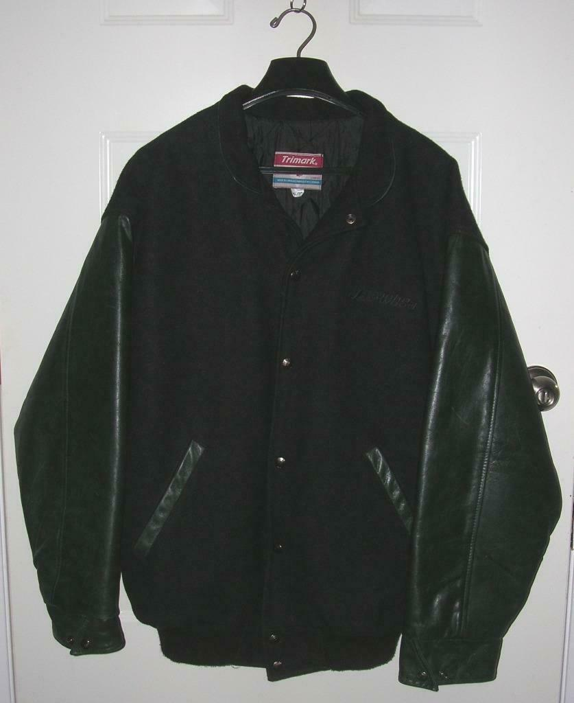 Primary image for Mens Black Melton Cloth & Cowhide Leather Varsity Bomber Jacket XL Embroidered
