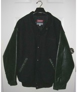 Mens Black Melton Cloth & Cowhide Leather Varsity Bomber Jacket XL Embro... - $33.94