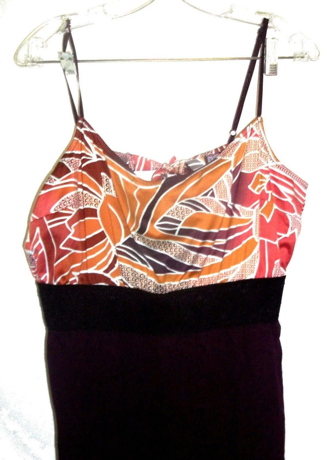 FREE People Orange and Purple Dress with Black Lace Stretch Waistband Sz L