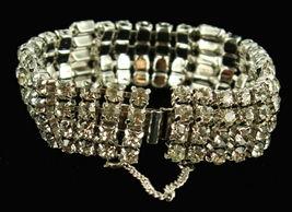 """Vintage Stunning Wiesner Wide Rhinestone Bling Bracelet Best Quality 4 Rows 7"""" image 5"""