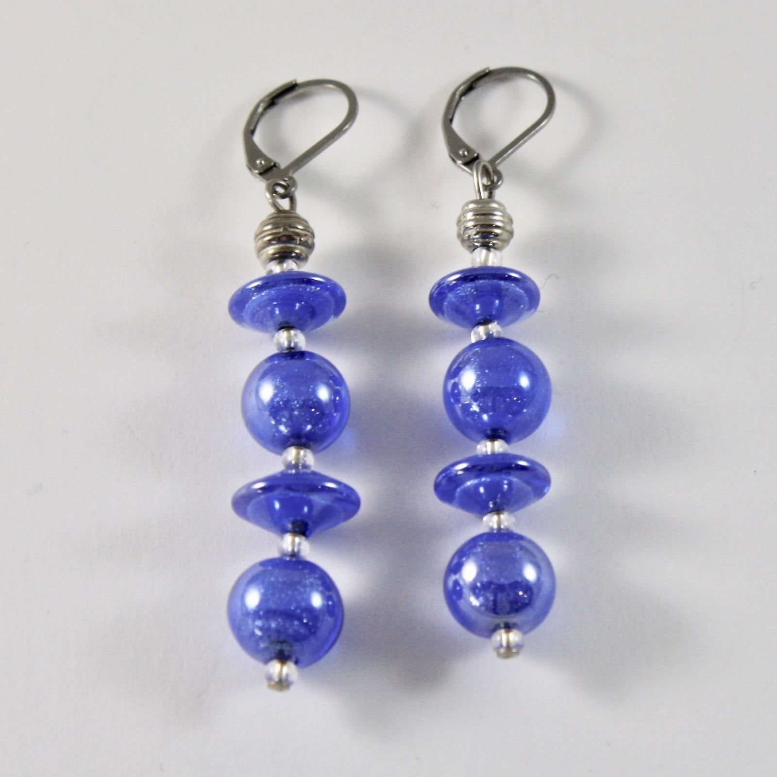 EARRINGS ANTICA MURRINA VENEZIA WITH MURANO GLASS DISCS SPHERES BLUE HANGING