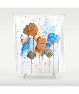 Shower curtains art shower curtain Abstract 9 blue orange art painting L... - $68.99