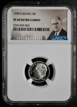 1999 S Silver Proof Roosevelt Dime NGC PF69 Ultra Cameo Coin SKU# C79