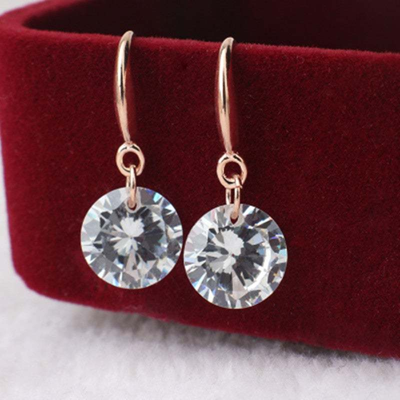EK Hot Selling Lady Elegant Fashion Noble Zircon Crystal Dangle Drop Earrings Fo