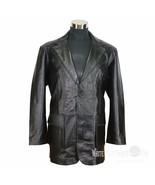 Giacca di pelle sportiva da uomo Patch TASCHE 2 BOTTONI BAVERO - $207.98+