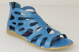 Womens Blue 202 Zipper Style All Real Leather Huarache Sandal Ankle - €32,40 EUR