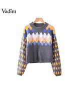Vadim women argyle knitted sequined loose sweaters oversized long sleeve... - $46.96