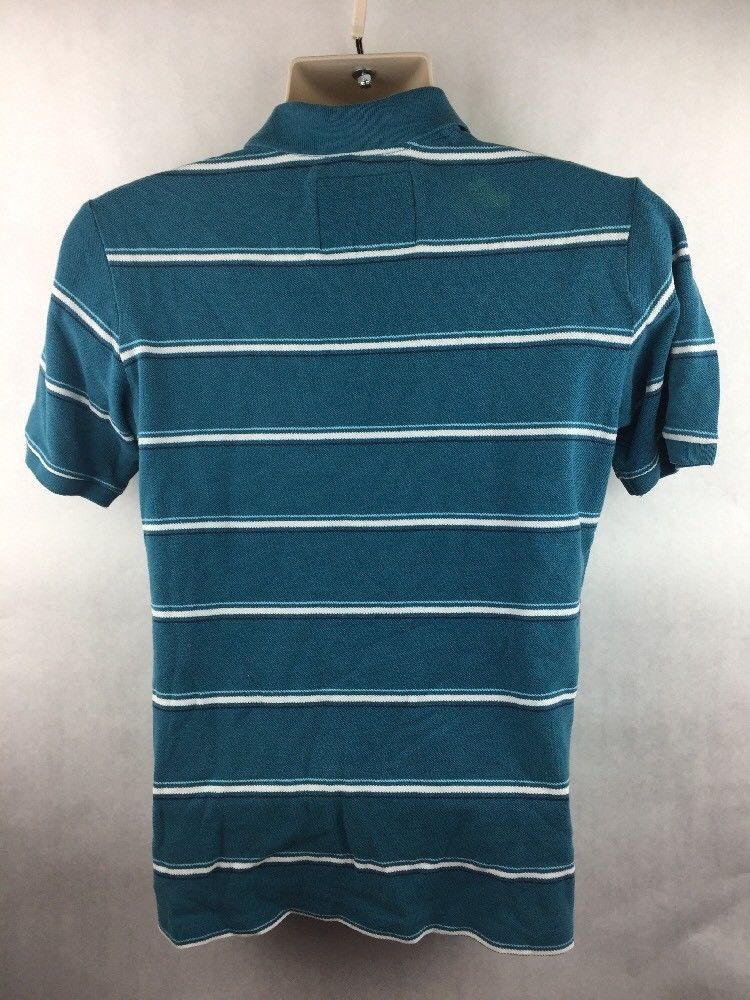 Men's Abercrombie Blue & White Short Sleeved Polo Shirt Size XL *Cosmetic Flaw