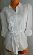 TOMMY HILFIGER Top TUNIC Blouse 1X 2X 16 18 20 White PEASANT Flowy BOHO ... - $27.46