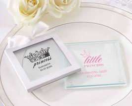 Personalized Princess Tiara Crown Glass Coaster Baby Shower Birthday Par... - $116.61+