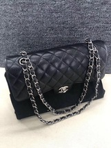 AUTH BNIB Chanel 2019 Black Quilted Caviar Classic Medium Double Flap Ba... - $5,888.00