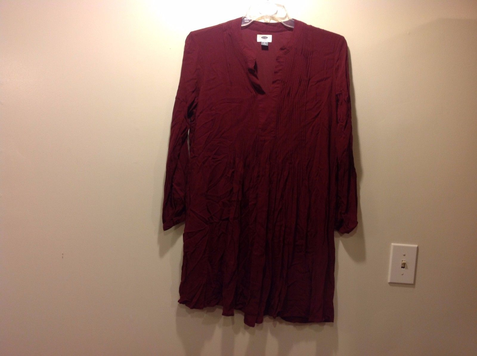 Front Pleated Long Maroon Formless Loose Dress by Old Navy Sz LG