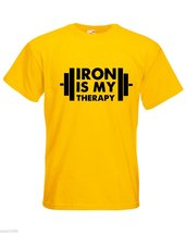 Mens T-Shirt Iron is My Therapy Bodybuilder tShirt Bodybuilding Fitness Shirt - $24.74