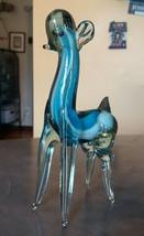 "Studio Art Glass Llamo Alpaca Blue & White Swirled Fused Encased 7 1/2"" - $15.00"